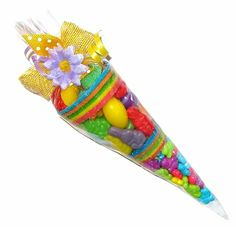 Easter candy cone filled with Easter goodies.