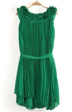 Green Sleeveless Drawstring Pleated Chiffon Dress - perfect for St. Patrick's Day!