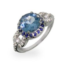 Two Tone Sapphire CZ Vintage Style Ring