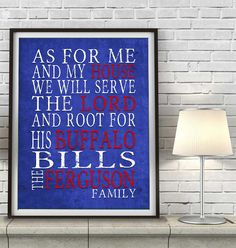 """Buffalo Bills football inspired Personalized Customized Art Print- """"As for Me"""" Parody- Unframed Print"""