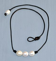 Freshwater Pearl and Leather Choker by BonafideBeads on Etsy