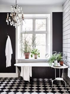 Black Wall Interior add lots of house plants