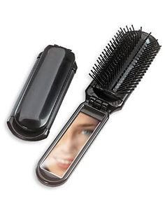 Pop-Up Hair Brush: If you are okay using a different brush during your travels, this one is ideal because it takes up very little space when folded down and because of the mirror in the handle. Her Packing List, Travel Supplies, Shopping Catalogues, Packing Light, Carry On Bag, Hair Brush, Travel Accessories, Pop Up