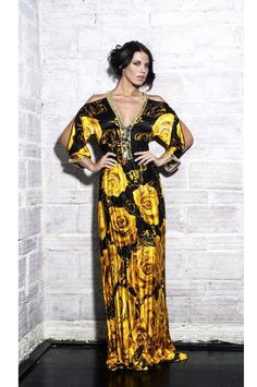 Baccio Couture Ross Silk Long luxury Dresses - One of Baccio Couture's first silhouettes. This gorgeous customer favorite luxury silk gown in its original print! This classic silk dress is draped in 100% fine silk, and adorn with Swarovski jewels. #luxurydresses