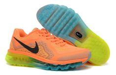 dea9027839ba Nike Air Max 2014 Dames Oranje Zwart Zwart Blauw Geel Schoenen