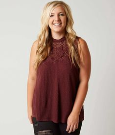Lucky Brand Mock Neck Tank Top - Plus Size Only - Women's Tank Tops in Marsala | Buckle