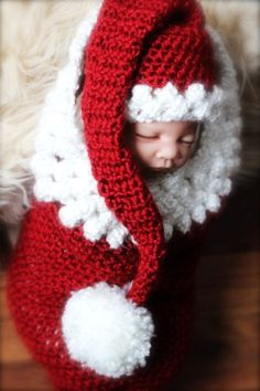 2015 Long tail red crochet Santa baby hat for Christmas - baby hat, Santa knitted craft