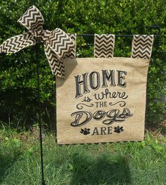 Embroidered Burlap Garden Flag Home is by sewgoddesscreations