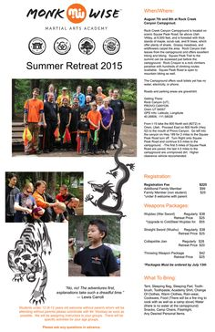 Summer Retreat 2015 — Professional Instruction in Kung Fu, Tai Chi, Meditation, and Qi Gong