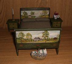 Dollhouse Miniature Hand Painted Folk Prim Sleigh Bed Nightstands L Lassige | eBay