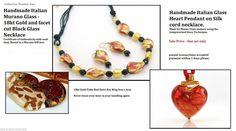 Italian Venetian Murano Glass Necklaces Genuine Murano Made in Italy- SALE Glass Necklace, Glass Jewelry, Glass Beads, Bead Necklaces, Pendant Necklace, Jewellery, Handcrafted Jewelry, Handmade, Black Glass