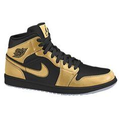check out 84e8d 00598 Jordan AJ 1 Mid - Girls  Grade School - Metallic Gold Coin Black