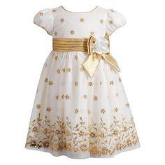 Youngland Floral Glitter Mesh Dress - Toddler