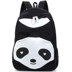 Cartoon Cute Panda School Rucksack Animal College Canvas Backpack 7748d24d5552a