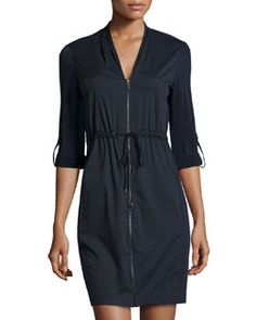 TAEC2 Tahari Zip-Front Tab-Sleeve Shirtdress, Navy