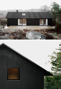 House Exterior Colors – 14 Modern Black Houses From Around The World / Black pine tar coats the plywood facade of this small island home.