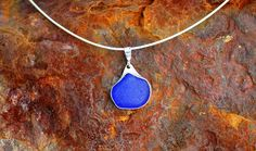 "Blue Sea Glass in a Sterling Silver Bezel Setting  18"" Cable Chain"