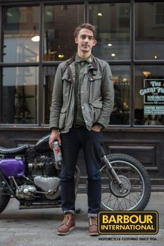 We loved William's classic Duke Jacket, inspired by Barbour International's vast motorcycling heritage. Barbour Jacket Outfit, Barbour Motorcycle Jacket, Barbour Jacket Mens, Barbour International Jacket, Wax Jackets, Gentleman Style, Denim Fashion, Winter Jackets, Menswear