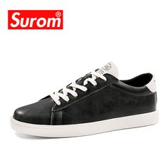 SUROM Men Shoes Brand Spring New Mens Casual Shoes Anti Slip Split Leather  Sneaker Lace Krasovki tenis homens 0dc90ebd84cf