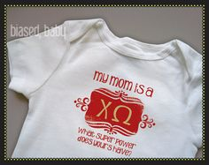 Awesome Chi Omega legacy onesie!