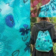 New #backpack #jungle #handpainted #handmade #illustrationworks #flowers #tourquoise #illustration #flowerpower #blue #shadesofblue #dwielewerece