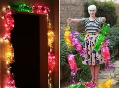 DIY Candy Lights (would be good also for a Candyland party) Noel Christmas, Outdoor Christmas, Christmas Candy, Christmas Lights, Christmas Decorations, Google Christmas, Whimsical Christmas, Holiday Lights, Candy Theme