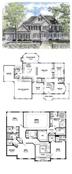 Colonial Style COOL House Plan ID: chp-44788   Total Living Area: 3859 sq. ft., 4 bedrooms & 4.5 bathrooms. #colonialstyle #houseplan