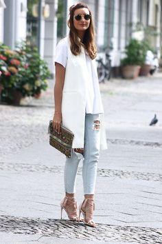 Asos Heels, Cos Shirt, Zara Vest, Zara Clutch, Zara Jeans, Ray Ban Glasses