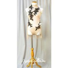 ff07d1cdead9b Nude Leotard/Half Skirt with Black Appliques - Swarovski Rhinestones - Size  AM