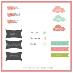 Blog Buttons Set by TheLittleLollypop on Etsy, $20.00