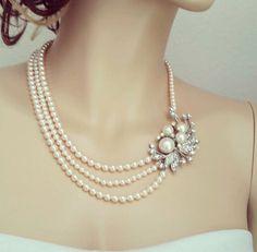 Blush Pearl Necklace Bridal Necklace Bridal by SukranKirtisJewelry