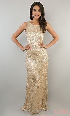 Sleeveless Sequin Gown for Prom at PromGirl.com #prom #dress