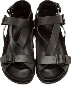 AD Ann Demeulemeester Black Buckle Strap Sandals