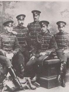 Left to right: Alexander Constantinovich von Meier, Ivan Nikolaevich Svechin, Sergei Sergeevich Golovin, Nicky, Prince Lev Ivanovich Dondukov-Izedinov.