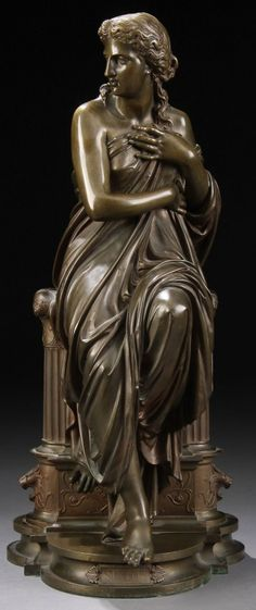 *EUGENE-ANTOINE AIZELIN (French 1821-1902) Suzanne Bronze with dark brown patina Inscribed on base E. AIZELIN Sculp. Height 19 inches (48.2 cm)