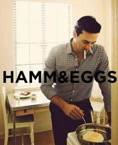 jon hamm & eggs (originally spotted by @Catheylmk679 )