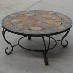 Trueshopping 'Villa Beacon' Outdoor Garden Fire Pit Combined Charcoal Patio Burner / Slate Coffee Table 35 inch Diam. with Firepit Barbecue BBQ: Amazon.co.uk: Garden & Outdoors