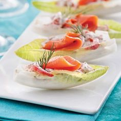 Endives farcies au saumon fumé – 5 ingredients 15 minutes Endives stuffed with smoked salmon – Starters and soups – Recipes – Express recipes – Pratico Pratique Seafood Appetizers, Quick Appetizers, Appetizers For Party, Appetizer Recipes, Endive Appetizers, Fish Recipes, Seafood Recipes, Soup Recipes, Healthy Recipes