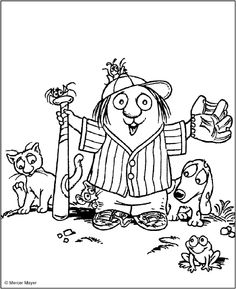 book charactersl colouring pages - Yahoo Canada Image Search Results Puppy Coloring Pages, Cartoon Coloring Pages, Coloring Book Pages, Mercer Mayer Books, Library Lesson Plans, March Crafts, Little Critter, Book Characters, Toddler Crafts