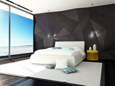 Decoration, Cool Modern Bedroom Design With Elegant Black Wall Panel Decor Also White Modern Bed With Yellow Unique Nightstand Also White Cushions Also Blue And Gray Cushions Also White Carpet And Dark Gray Floorboards: Modern Room Dividers and Room Decor