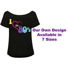 Plus Size I Love The 80's T Shirt 1980s Pop Party Women's Costume Set
