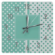 Turquoise and White Polka Dots Square Clock by hhtrendyhome