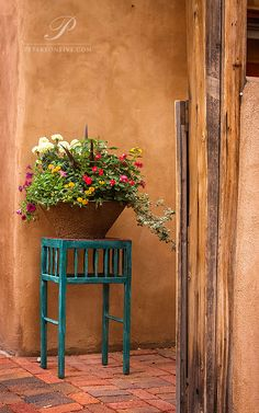 Santa Fe, New Mexico. This was photographed on Canyon Road. Even the smallest details seem to have been arranged by an artist's eye in this charming city.