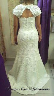 Vestido de Noiva Sereia em Crochê Irlandês com cauda