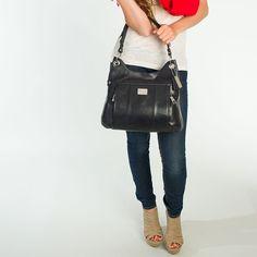 """Grace Adele """"Laney"""" leather bag, in black"""