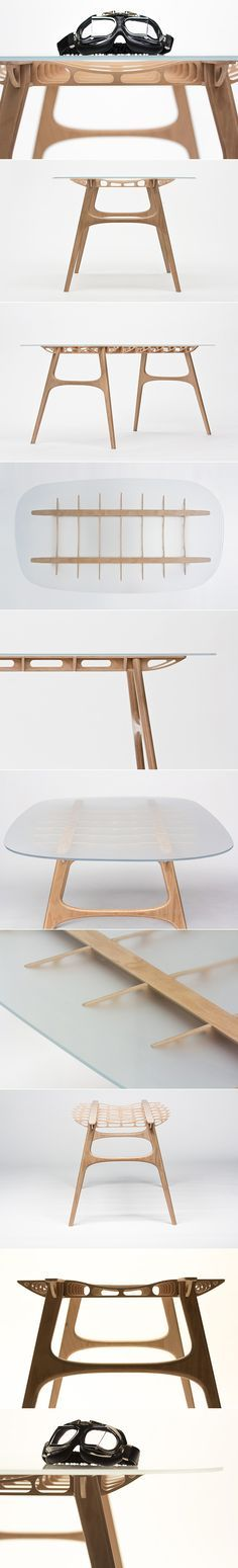 manfred table explores structure of wooden airplane wings Manfred table explores the sculptural structure of … Plywood Furniture, Table Furniture, Cool Furniture, Furniture Design, Plywood Walls, Outdoor Furniture, Plywood Projects, Furniture Projects, Crea Design