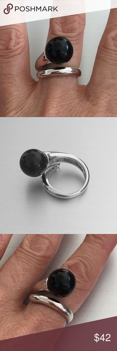 Sterling Silver Statement Black Onyx Ring Sterling Silver Black Onyx Ring, Statement Ring, Index Ring, Thumb Ring, 925 Sterling Silver, Stone Black Onyx, Face Height 12 mm Jewelry Rings