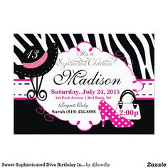 Sweet Sophisticated Diva Birthday Invitation