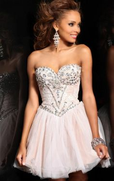 New Strapless Homecoming Dresses Short Dress Beaded Prom Ball /Free shipping #Handmade #Cocktail