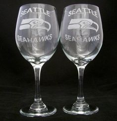 Seattle Seahawks Wine Glasses 12th man gifts by Etchddreams, $20.00